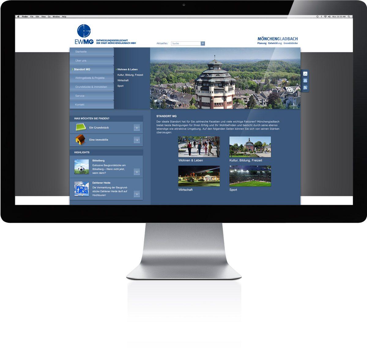 EWMG Website Darstellung auf iMac
