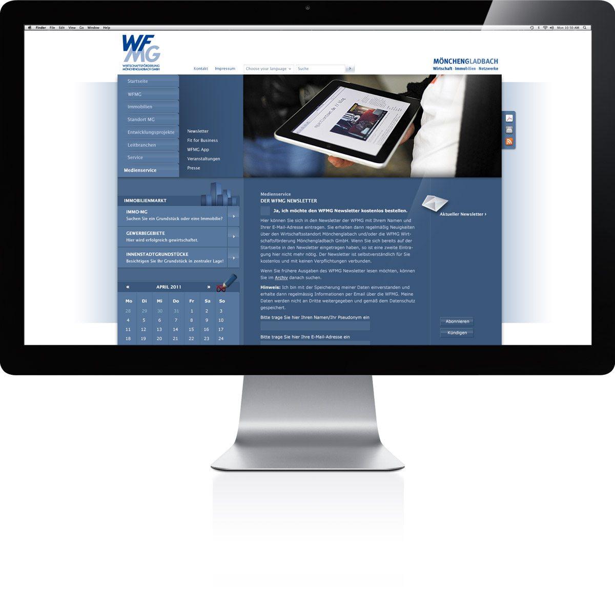 WFMG Website Darstellung auf iMac
